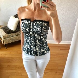 WHBM black and white corset top